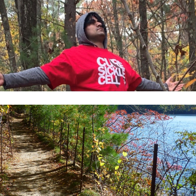 """Top pane is a man in a hoodie that says """"Cure Sickle Cell."""" Bottom pane is path along Walden pond."""